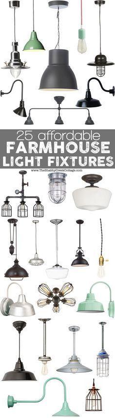 Gorgeous farmhouse light fixtures - all on a budget! #farmhousestyle #farmhouselight #farmhousedecor
