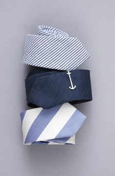 Perfect for a nautical wedding. Ties ($19) and tie bars ($15) at www.TheTieBar.com