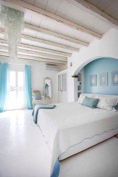 House of Turquoise: Mykonos Panormos Villas + Fun News! House of Turquoise: Mykonos Panormos Villas + Fun News! Nachhaltiges Design, Design Case, Interior Design, House Of Turquoise, Home Bedroom, Master Bedroom, Bedroom Decor, Greek Bedroom, Master Suite