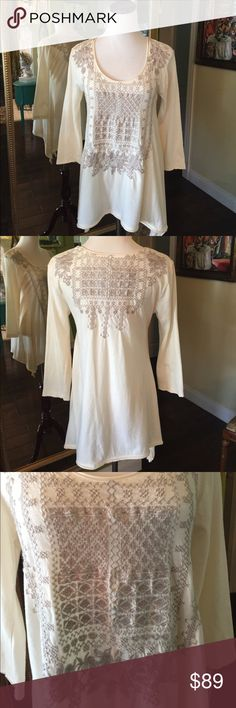 Johnny Was top Beautiful intricate embroidery work on this aline top.  Super soft and comfortable. Johnny Was Tops Tees - Long Sleeve