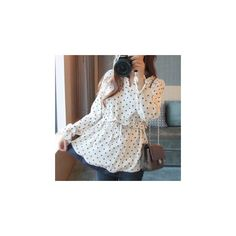 Long-Sleeve Dotted Notch Neck Blouse (€16) ❤ liked on Polyvore featuring tops, blouses, women, split neck blouse, blue polka dot top, long sleeve blouse, blue top and blue polka dot blouse