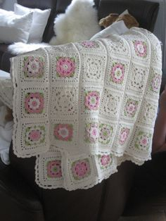 sweet/dainty crochet: white and pastel pinks with green.