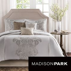 Madison Park Randall 7-piece Comforter Set on Overstock --- with light grey walls and light pink curtains for master bedroom