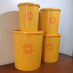 Vintage Tupperware Canisters Set of 4 Gold by RetroResaleSanDiego