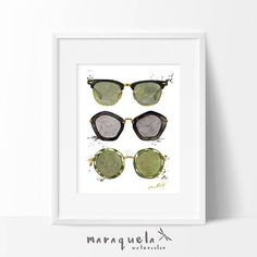 https://www.etsy.com/listing/520455720/fashion-sunglasses-illustration-ii?ref=shop_home_active_3. Ilustración II GAFAS de Sol Fashion Acuarela, decoracion mujer, chicas, laminas, alegre.Pared, Glamour, Fashion Room, poster, moda, verano