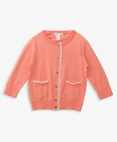 Lace Trim Peach Girl's Cardigan