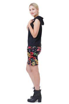 Hoodiekleid Sommer mit Blumen Sommerkleid mit Kapuze