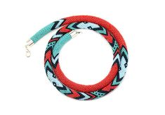 Bead Crochet Necklace Geometric Pattern Minimalist Necklace Modern Jewerly Crochet Rope Tribal Turquoise Red Chevron Necklace Multicolored on Etsy, $125.83 AUD