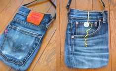 Reuse Jeans, Denim Sandals, Denim Tote Bags, How To Make Purses, Denim Crafts, Creation Couture, Denim And Lace, Hip Bag, Recycled Denim