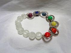 Chakra and Crystal Quartz Stone Stretch Bracelet by NfntyArt on Etsy