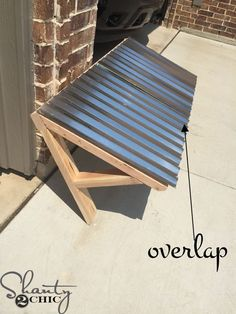I'm back in my sons room this week and I'm tackling his windows with a DIY Corrugated Metal Awning! I have been wanting something unique for his windows that would fit the style of his Porch Awning, Diy Awning, Awning Over Door, Diy Exterior Window Awning, Shop Awning, Corrugated Metal, Back Doors, Diy Home, Home Projects