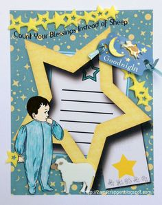 Sweet Layout using Crafty Secrets Digital Bedtime Kids Large Stamp Set by 2amscrapper for her grandson and entered in the June Linky Party