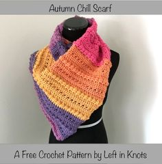 A cozier, warmer version of my Open-Air Market Scarf. The Autumn Chill Scarf has the same stylish asymmetrical look and a beautiful, cozy texture. Another FREE pattern for your Caron Cakes Yarn stash :) by wilma Poncho Crochet, Crochet Scarves, Crochet Clothes, Crochet Hooks, Free Crochet, Crochet Yarn, Caron Cake Crochet Patterns, Caron Cakes Crochet, Yarn Cake