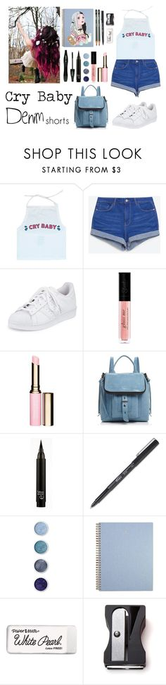 """""""353->""""Crybaby"""" by Melanie Martinez"""" by dimibra ❤ liked on Polyvore featuring adidas, Clarins, Botkier, Lancôme, Terre Mère, Paper Mate, Monkey Business, jeanshorts, denimshorts and cutoffs"""