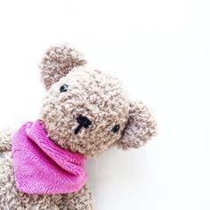 Also das Kind hat den Bär Philipp getauft und ihm das Pinke Halstuch vom Steiff-Schaf angezogen.  by buttoneyebeanies