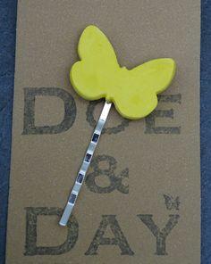 Glazed Porcelain Butterfly & Silver Plated Hair Slide by FebbieDay of Doe&Day (FDS020)