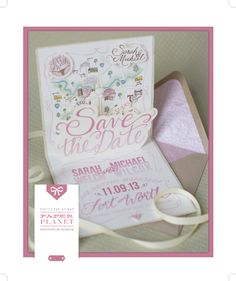 Pop-Up Save the Date   Custom Save the Date   Hand-drawn Map   Paper Planet