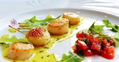 Sapuri Sicilianu: CAPESANTE AL BURRO E LIMONE Gourmet Recipes, Pasta Recipes, Healthy Recipes, Fish Batter With Egg, Burritos, Mushy Peas, Tapas, Great British Chefs, Healthy Pastas
