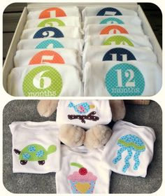 baby SHOWER gift ideas (tip junkie -60 homemade DIY's) Baby Clothing Patterns  22. Monthly Onesies Photo Op ~ Not only is this baby shower gift thoughtful and fun, but it gives the new mommy a great photo You may even want to include a 12-opening frame or ready-made scrapbook page for her to put the pictures in.  You can print out the 12 month iron-ons here on Tip Junkie.