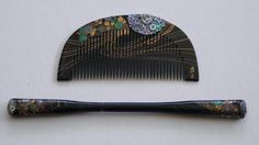 Japanese Early Showa Period Comb and Kogai Set in Lacquer and Shell Inlays | eBay