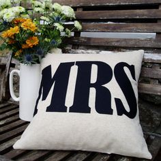 MRS  word Cushion/pillow in natural linen &  by karenhiltondesigns, $70.00