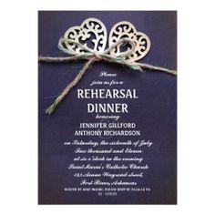 rustic blue rehearsal dinner invitation