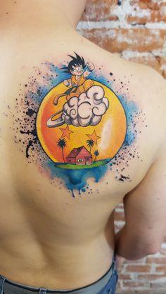 Dragon Ball 2 Star Son Goku On Flying Nimbus Over Kame House Island Tattoo Halo Tattoo, Z Tattoo, Badass Tattoos, Cute Tattoos, Tattoos For Guys, Back Tattoos, Sleeve Tattoos, Shen Long Tattoo, Tatoo Geek