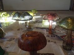 glass mushrooms - drying after spraying with varnish Glass Mushrooms, Stuffed Mushrooms, Sculptures, Home Decor, Stuff Mushrooms, Decoration Home, Room Decor, Sculpting, Sculpture