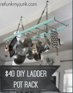Easy Instructions on DIY Ladder Pot Rack!