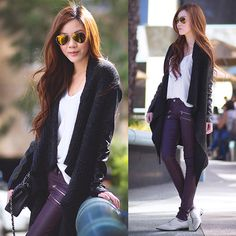 Cardigan, Coated Jeans