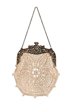 Bette hand-crochet lace bridal purse intricate beaded vintage inspired ivory