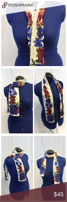 """Liz Claiborne multicolored floral Shawl/Scarf. Liz Claiborne multicolored floral Shawl/Scarf, hand wash. 100% polyester. Approx measurements are 53"""" long and 10"""" wide. Liz Claiborne Accessories Scarves & Wraps"""