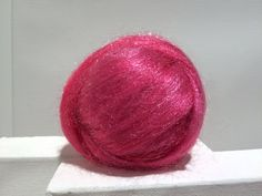 Bright Pink Firestar roving Needle Felting Spinning by wildethyme