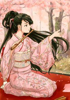 anime girl in kimono with flute