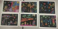 """Undersea scenes from """"Make Your Own Scratchboard"""" class, ages 5--9."""