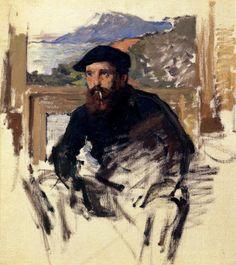 """Claude Monet (1840, Paris -1926, Givern), """"Autoritratto nel suo Atelier"""" / """"Self Portrait in his Atelier"""", XIX-XX secolo / Nineteenth-Twentieth Century, Olio su tela / Oil on canvas, Collezione privata / Private Collection"""