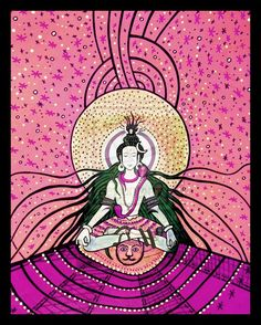 Shiva in Pink Purple De Laxmanjhoola