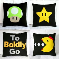 Geek pillows! Super Mario, Star Trek, Pac Man...from Etsy