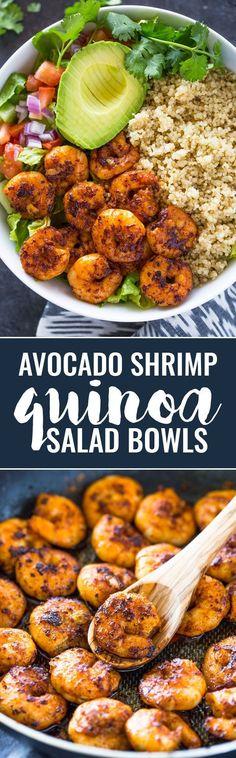 Avocado Shrimp Quinoa Salad Bowls