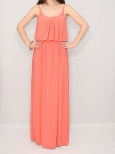 Coral Bridesmaid dress Maxi dress Party dress Women by KSclothing, $45.00