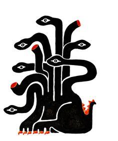 Ὕδρα, Ὕδρη - HIDRA:  Hija de Tifón y de Equidna, la diosa serpiente, hermana del perro Ortro y de Cerbero de 50 cabezas, vivía en el pantano de Lerna en la Argólide.