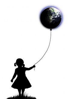 The Girl That Holds The World - White #girl #balloon #universe #planet #earth #artprint  #wallart #wallartprints