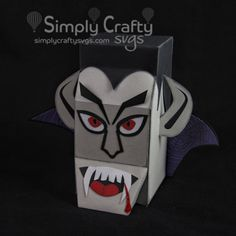 """Vampire Head Box Side SVG File. Dracula box to display or hold candy. 7"""" tall with removable lid. Halloween SVG. #simplycraftysvgs"""