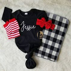 *Accessories NOT included. Visit our shop for current accessory availability.* LivAndCompanyShop.etsy.com . Our personalized knotted baby gowns are the perfect baby shower gift for any new baby boy or baby girl. We offer these newborn baby gowns in the trendiest colors in the comfiest stretchy