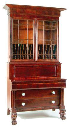 Mahogany Bookcase Secretary with Paw Feet