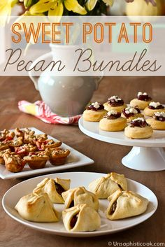 Sweet Potato Casserole Bundles -- these yummy little holiday appetizers have all the flavors you've come to love in a sweet potato casserole, wrapped up in a crescent roll dough bundle! #appetizers