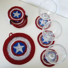 Tutorial : Captain America coasters - aHooka - Geek'itude et crochet