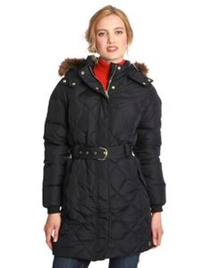 Joules Womens Belted Quilted Coat with Faux Fur Trim Hood, Marine Navy.                     Cut a real dash as the weather gets cold with this luxury feather and down filled large diamond quilted jacket.  Belted to give shape this coat features gold trims and a detachable hood trimmed generously with highest quality faux fur.