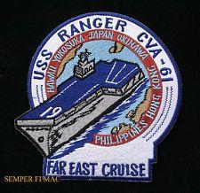 USS RANGER CVA-61 FAR EAST CRUISE US NAVY MARINES PATCH CV FMF CAG MAW VF WOW