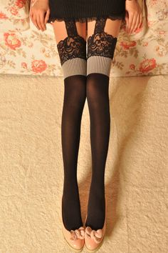 Light Grey Suspender Tights(Halloween sale on Oct.26th)